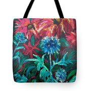 Blue Thistle And Bee Balm Tote Bag