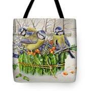 Blue Tits In Leaf Nest Tote Bag