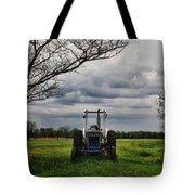 Blue Tractor Green Field Tote Bag