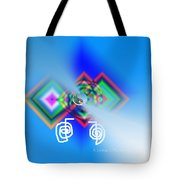 Blue Triple Interconnected Squares Tote Bag