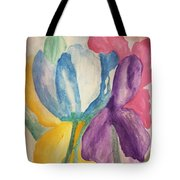 Blue Tulip And Iris Abstract Tote Bag