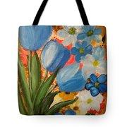 Blue Tulip Trio Tote Bag