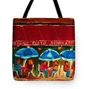 Blue Umbrellas Tote Bag