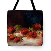 Blue Vase And Red Roses Tote Bag