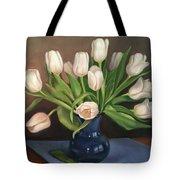 Blue Vase, White Tulips Tote Bag