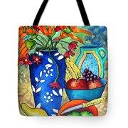 Blue Vase With Orange Flowers Tote Bag