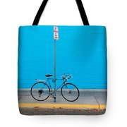 Blue Wall Bicycle Tote Bag