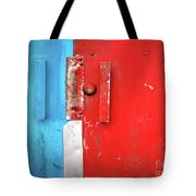 Blue Wall Red Door Tote Bag