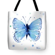 Blue Watercolor Butterfly Tote Bag