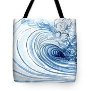 Blue Wave Modern Loose Curling Wave Tote Bag