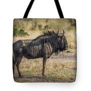 Blue Wildebeest Standing On Savannah Staring Ahead Tote Bag