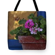 Blue Window With Geraniums Tote Bag