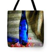 Blue Wine Bottle Tote Bag