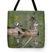 Male And Female Blue-winged Teal  Tote Bag