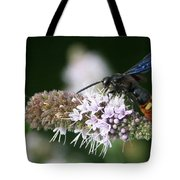 Blue-winged Wasp On Mint Tote Bag