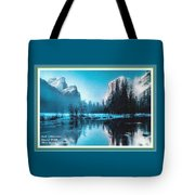Blue Winter Fantasy. L A With Decorative Ornate Printed Frame. Tote Bag