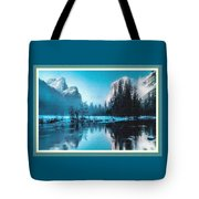 Blue Winter Fantasy. L B With Decorative Ornate Printed Frame. Tote Bag