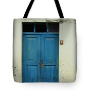 Blue Wood Door In A Building Tote Bag