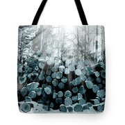 Blue  Wood Tote Bag