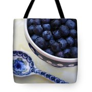 Blueberries And Spoon  Tote Bag