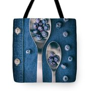 Blueberries On Denim I Tote Bag