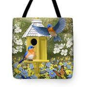 Bluebird Garden Home Tote Bag