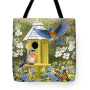 Bluebird Garden Home Tote Bag by Crista Forest
