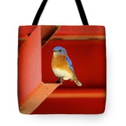 Bluebird On Red Tote Bag