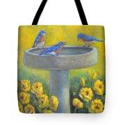 Bluebirds On Birdbath Tote Bag