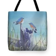 Bluebirds On Post Tote Bag