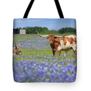 Bluebonnets And Longhorns 4 Tote Bag