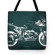 Blueprint For Men Office Decoration. R1100s Green Background Tote Bag