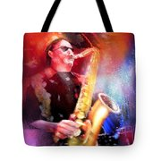 Blues Saxophonist Tote Bag