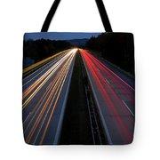 Blurred Lights Lines On Highway Tote Bag