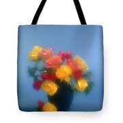 Blurred Roses In The Blue Tote Bag