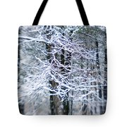 Blurred Shot Of Snow-covered Trees Tote Bag