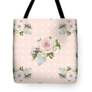 Blush Pink Floral Rose Cluster W Dot Bedding Home Decor Art Tote Bag