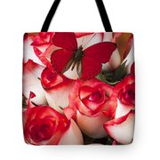 Blush Roses With Red Butterfly Tote Bag