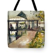 Boardwalk Sarasota Ink And Wash Tote Bag