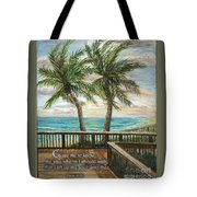 Boardwalk With Two Palms Psalm 143 Tote Bag