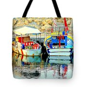 Happy And Colorful Boats In Their Own Company  Tote Bag by Hilde Widerberg