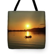 Boat At Sunset Glow Tote Bag
