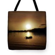 Boat At Sunset Glow - Sepia  Tote Bag