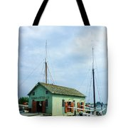 Boat By Oyster Shack Tote Bag