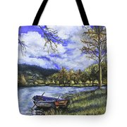 Boat By The Lake Tote Bag