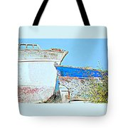 Old Boats Hugging And Kissing Forever  Tote Bag by Hilde Widerberg