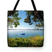 Boat Framed By Trees And Foliage Tote Bag