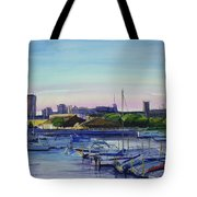 Boat Harbor At Dusk Tote Bag