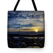 Boat Harbor At Sunset Tote Bag