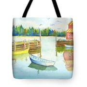Boat House Tote Bag by Carolyn Weir